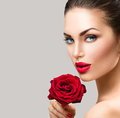 Beauty Fashion Model Woman With Red Rose Flower Stock Images - 66322974