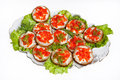 Sandwiches With Red Caviar Stock Photography - 66324292