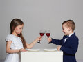 Little Beautiful Couple. Beauty Girl And Handsome Boy Stock Images - 66326974
