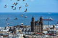 Cathedral Of Santa Ana (Holy Cathedral-Basilica Of The Canaries) In Las Palmas Seen From A Hill Stock Photos - 66330533