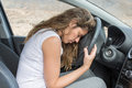 Woman Tired At The Wheel Royalty Free Stock Image - 66333116