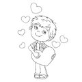 Coloring Page Outline Of Boy With Hearts Royalty Free Stock Photography - 66352417