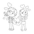 Coloring Page Outline Of Boy And Girl With Hearts Royalty Free Stock Images - 66352419