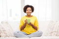 Happy African American Woman Drinking From Tea Cup Stock Photography - 66354742