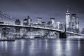 View Of Manhattan  And  Brooklin Bridge By Night, New York City Royalty Free Stock Images - 66358529