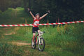 Young Woman Wins The Race Crossing Finish Line Stock Photos - 66363873