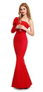 Woman In Red Gown With Champagne Glass On White Stock Image - 66371831