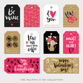 Valentines Day Gift Tags And Cards. Calligraphy Hand Drawn Design. Stock Photos - 66375703