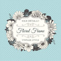 Vector Flower Frame Label Royalty Free Stock Images - 66395199
