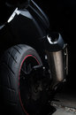 Dirt On Exhaust Of Touring Motorcycle Stock Image - 66409821