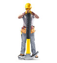 Construction Worker In Helmet With Tool And Hammer Stock Image - 66413121