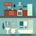 Vector Flat Illustration For Rooms Of Apartment, House. Home Interior Design Kitchen And Bath Modern Decoration With Royalty Free Stock Photography - 66420247