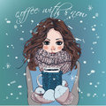 Cute Winter Girl With Coffee Cup Royalty Free Stock Photo - 66421635