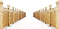 Two Fences In Perspective, On A White Background. 3d Rendering Stock Image - 66422201