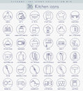 Vector Kitchen Outline Icon Set. Elegant Thin Line Style Design. Royalty Free Stock Images - 66422629