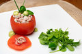 Stuffed Tomato With Shrimps And Avocado. Royalty Free Stock Images - 66424329