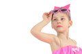 Portrait Of A Little Girl With Glasses Looking Up Imagining Stock Image - 66432821