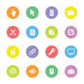 Colorful Flat Computer And Technology Icon Set On Circle Royalty Free Stock Image - 66443036