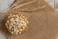 Fresh Muffins With Oatmeal And Ears Of Rye Grain, Delicious Healthy Dessert, Copy Space For Text On Jute Canvas Stock Image - 66443601