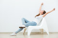 Single Woman Sitting On White Chair Royalty Free Stock Image - 66469106