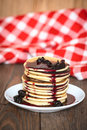 Stack Of Pancakes White Plate With Cherry Jam, Red  Napkin, Brow Royalty Free Stock Photo - 66474345