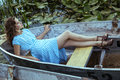 Young Beautiful Fashion Model Posing On Boat Royalty Free Stock Photos - 66483478