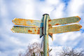Rusty Street Sign With Arrows Stock Image - 66483951
