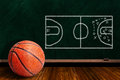 Game Concept With Basketball And Chalk Board Play Strategy Stock Photo - 66488290