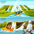 Rafting Canoeing Kayaking Compositions Stock Image - 66509281