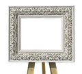 Old Vintage Ornate White Picture Frame On A Stand With Pattern I Stock Images - 66511634
