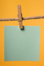 Blank Paper Notes Hanging On Rope With Clothes Pins, Copy Space Royalty Free Stock Photo - 66512155