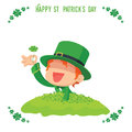 Leprechaun Found A Four-Leaf Clover For St. Patrick S Day Card Stock Images - 66514464