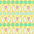 Easter Cookies Pattern, Card - Easter Bunny, Flowers, Hearts On Yellow Background. Stock Photography - 66538342