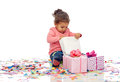 Happy Little Baby Girl With Birthday Presents Stock Photos - 66552023