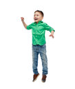 Happy Little Boy Jumping In Air Royalty Free Stock Photography - 66552387