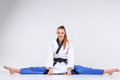 The Karate Girl With Black Belt Stock Image - 66553161