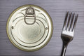Aluminium Food Can And Fork Royalty Free Stock Photography - 66562747