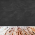 Wooden Floor And Black Chalk Board Blank Stock Photo - 66566060