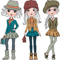 Vector Set Cute Fashion Hipster Girl Royalty Free Stock Photo - 66570645