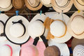 Straw Hats For Sale, Hanging On A Wall Stock Photography - 66576082