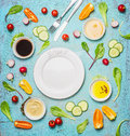 Fresh Delicious Salad And Dressing Ingredients Around Empty White Plate On Light Blue Background, Top View, Frame. Health Salad Ma Stock Image - 66587641
