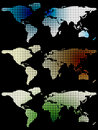Halftone World Maps Over Black Royalty Free Stock Image - 6664796