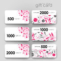 Gift Coupon, Discount Card Template With  Floral Ornament Background Stock Image - 66601961