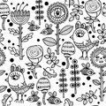 Seamless Pattern With Birds And Flowers. Stock Photography - 66601982