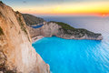 Shipwreck Beach At Sunset On Zakynthos Island Royalty Free Stock Photography - 66608957