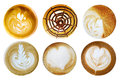 Set Of Coffee Latte Art Foam Shaped Top View On White Background Stock Images - 66612144