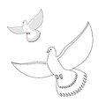 White Dove Coloring Book. Flying White Pigeon. Contour Bird Wavi Stock Images - 66615964