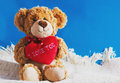 Teddy Bear And Big Red Heart With Text I Love You Isolated Stock Images - 66617364