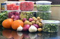 Fresh Green Vegetables In Packing And With Onion, Potatoes, Garlic And Oranges, Grocery Shopping,  Daily Needs Stock Images - 66645194
