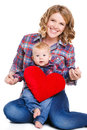 Mother And Son With Red Heart-shaped Pillow Royalty Free Stock Image - 66646816